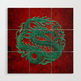 Wooden Jade Dragon Carving on Red Background Wood Wall Art