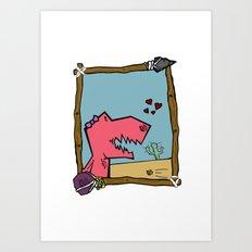 DINO GIRL   Art Print