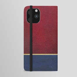 Deep Blue, Red And Gold Abstract Painting iPhone Wallet Case