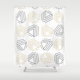 Abstract Gold Black Pattern Shower Curtain