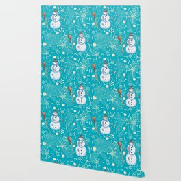 Seamless pattern with snowman Wallpaper