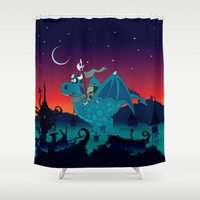 watch Shower Curtains featuring Night watch by mangulica