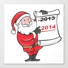 New Year 2014 Santa Claus Scroll Sign Canvas Print