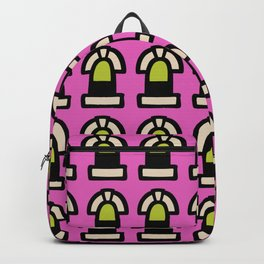 New York Windows Pattern 261 Chartreuse Pink Backpack