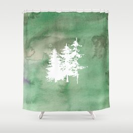 Hand painted forest green white watercolor pine trees Shower Curtain