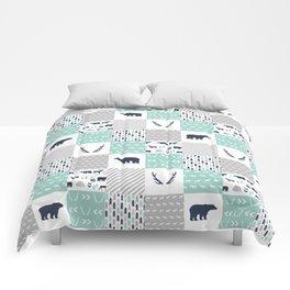 Camper antlers bears pattern minimal nursery basic navy mint white camping cabin chalet decor Comforters