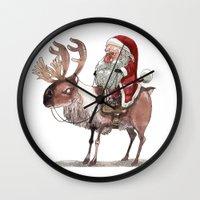 bouletcorp Wall Clocks featuring Père Noël Énervé / Angry Santa by Bouletcorp