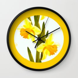 Yellow Spring Flowers with Green Leaf #decor #society6 #buyart Wall Clock