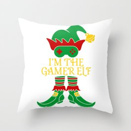 I'm The Gamer Elf Hat Shoes Green Red Xmas Gamer Game Christmas Apparel Controller T-shirt Design Throw Pillow