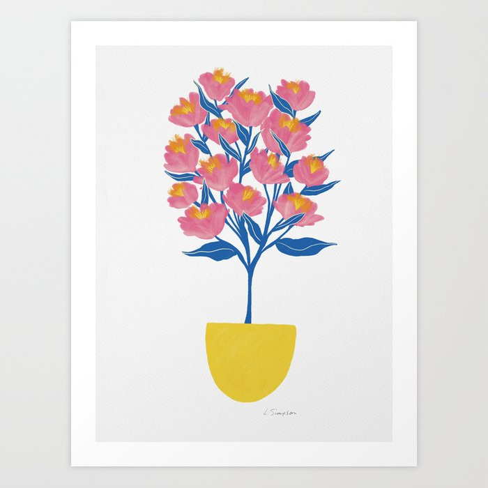 Potted Peonies Art Print
