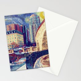 Minneapolis Starry Night Stationery Cards