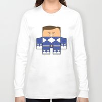 power rangers Long Sleeve T-shirts featuring Mighty Morphin Power Rangers - The Original Blue Ranger Unmasked (Billy) by Choo Koon Designs