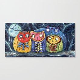 Dia de Muertos Owl Party Canvas Print