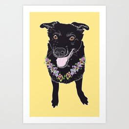 Happy Black Lab Dog Art Print
