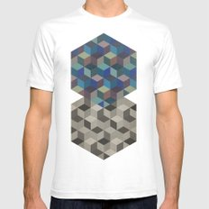Dimension in blue SMALL White Mens Fitted Tee