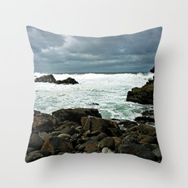 Cape Point Rocky Shore Seascape, South Africa Throw Pillow