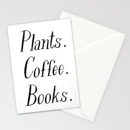 Plants, Coffee and Books Stationery Cards