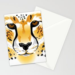 cheetah head close-up illustration Stationery Cards