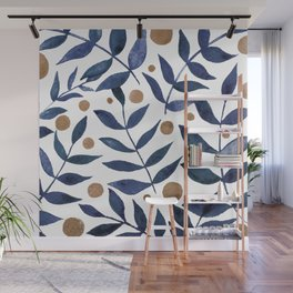 Watercolor berries and branches - indigo and beige Wall Mural