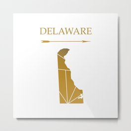 Delaware In Gold Metal Print