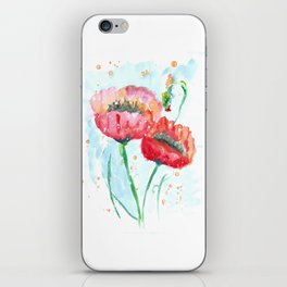 Poppy flowers no 4 Summer illustration watercolor painting iPhone Skin