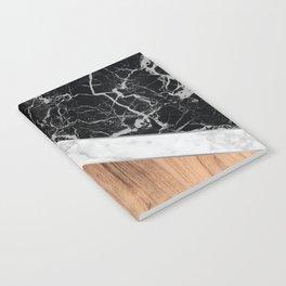 Arrows - Black Granite, White Marble & Wood #366 Notebook