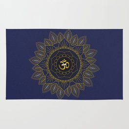 Om Symbol and Mandala in Spiritual Gold Purple Blue Violet Rug