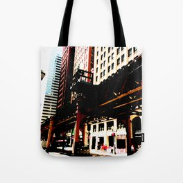 Chicago 'L' art print - Chicago L, Chicago EL - industrial urban photo - downtown Chicago CTA Tote Bag
