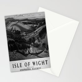 retro b/w Isle of Wight travel poster Stationery Cards