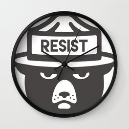 Bear Hat is Resist Wall Clock
