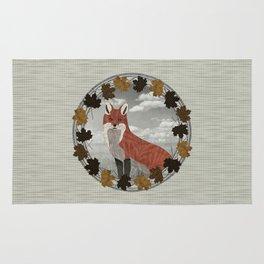 Red Fox Autumn Wreath Rug