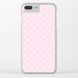 Cream Yellow on Pink Lace Stars Clear iPhone Case