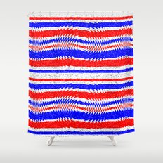 red and blue shower curtain. red white blue waving lines shower curtain and