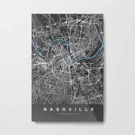 Nashville Map Tennessee | Black & Blue II | More Colors, Review My Collections Metal Print