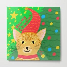 Christmas Cat Short hair orange tabby yellow eyes Metal Print