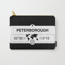 Peterborough England GPS Coordinates Map Artwork Carry-All Pouch