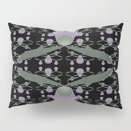 Purple Clover Reflection Pattern on Black Pillow Sham