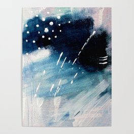 Meteor Shower - an abstract acrylic piece in blue and white Poster