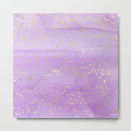 Lavender Watercolor Gold Stars Metal Print
