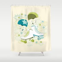 roller derby Shower Curtains featuring Roller Derby Rumble by Wild Notions