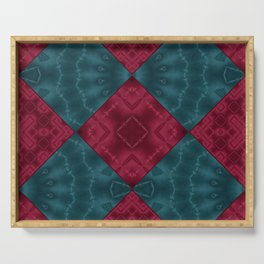 Red blue patchwork Serving Tray