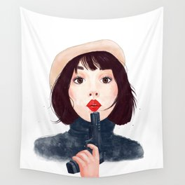 French woman with gun Wall Tapestry