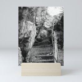 Tatzelwurm stairs black and white photography Mini Art Print