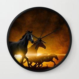 Wild Black Horses Wall Clock