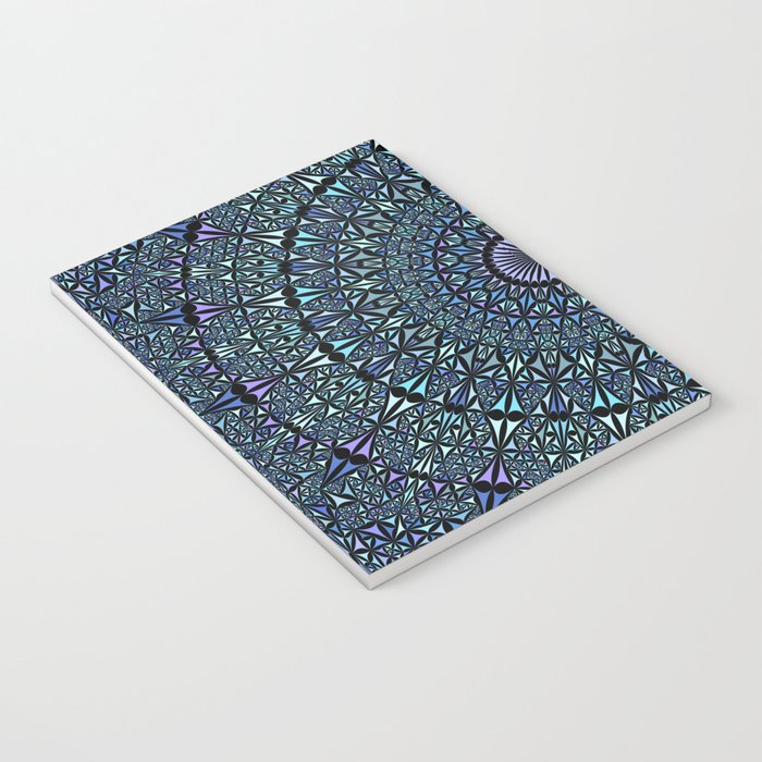 Blue Sacred Kaleidoscope Mandala Notebook
