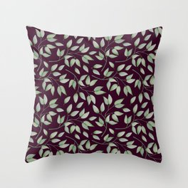 Watercolour leaves pattern on a Burgundy textured background Throw Pillow