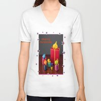 gift card V-neck T-shirts featuring Merry Christmas Gift Boxes Holiday Card  by taiche