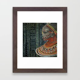 The Red Beads/mud cloth background Framed Art Print