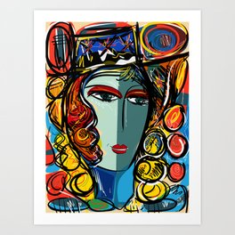 Portrait of a Girl with Hat French Pop Art Expressionism Art Print