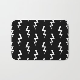 Bolts lightening bolt pattern black and white minimal cute patterned gifts Bath Mat